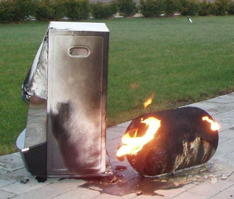 Brinnande gasolflaska